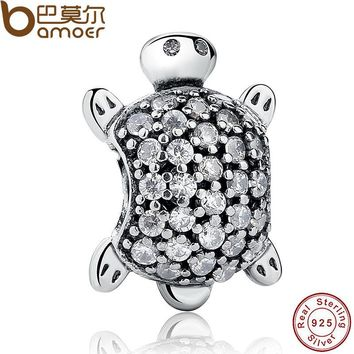 925 Sterling Silver Sea Turtle Charm Beads Fit Bracelets Original Animal Turtle Clear CZ Bead DIY Jewelry PAS147