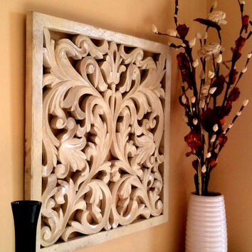 Rustic Antique Wall Panel of Reclaimed Wood Hand Carved Handmade - Elegant White
