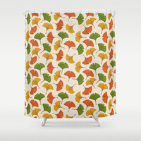 Fall ginkgo leaves pattern Shower Curtain by savousepate
