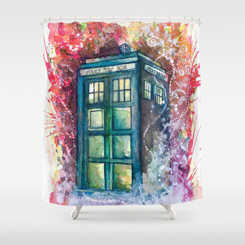 Doctor Who Tardis Shower Curtain by Jessi Adrignola