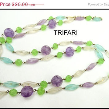 Trifari Lucite Bead Necklace purple pink blue and frosty white clear beads
