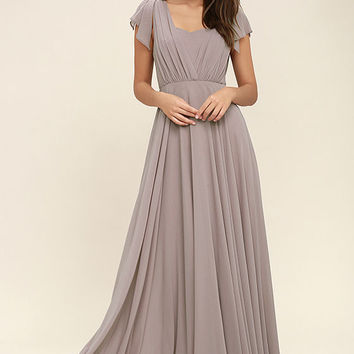 Falling For You Taupe Maxi Dress