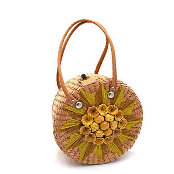 Vintage Straw Handbag Round Yellow Flowers Chartreuse Embroidered Leaves 1960s Retro Chic Mad Men Era Summer Fashion