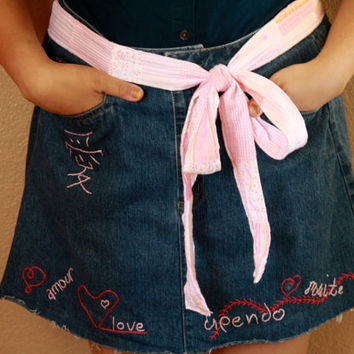 "Denim Apron - Upcycle - Hand Embroidered ""Love"" OOAK"