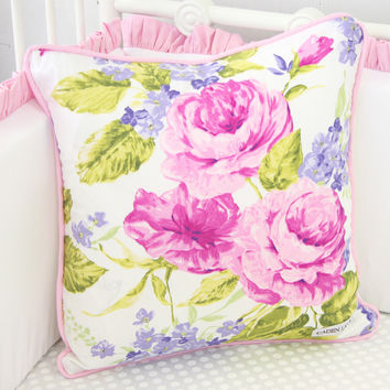 Penelope in Pink Square Pillow Cover
