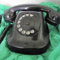 Vintage Russian  Bakelite Rotary Telephone ,  Black Rotary Antique Telephone from 1940s