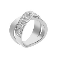 Michael Kors Pave-Crystal Twist Ring, Silver Color