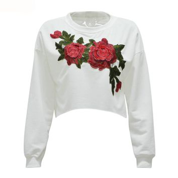 Embroidery Floral Cropped Sweatshirt Women Drop Shoulder Long Sleeve O Neck Casual Pullover Top