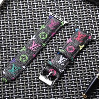 LV Rainbow Monogram Apple Watch Band - Black