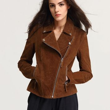 Fashion Genuine Leather Jacket Women Zipper Slim Motorcycle Outerwear Coats Turn down Collar Basic Jackets