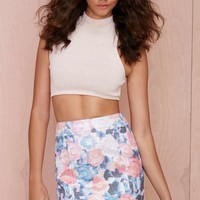 Nasty Gal Go with the Floral Metallic Skirt