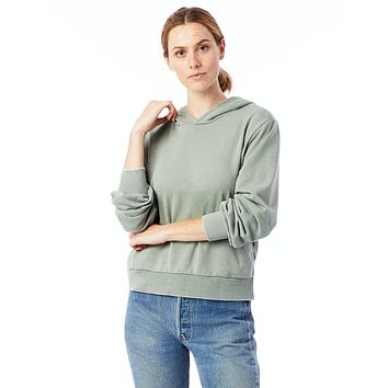 Alternative Apparel - The Claire Burnout French Terry Pullover Agave Green Hoodie