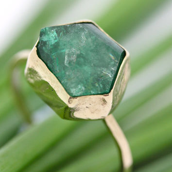 14K Gold Raw Emerald Ring One Of A Kind by louisagallery on Etsy