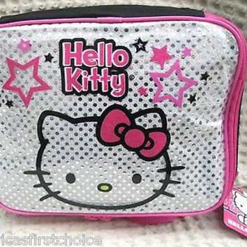 Hello Kitty Pink Silver Sequin  Insulated Lunch Bag by Sanario-New withTags!
