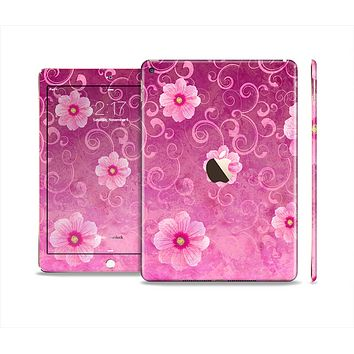 The Pink Vintage Flowers with Swirls Skin Set for the Apple iPad Air 2