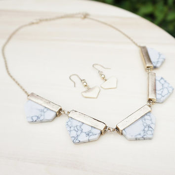 White Marble Geometric Gold Statement Necklace with Matching Earrings