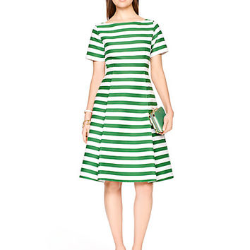 Kate Spade Yarn Dyed Stripe Fit And Flare Dress Lucky Green/Fresh
