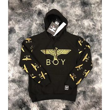 BOY LONDON autumn and winter new trend eagle hot stamping arm full printing plus velvet couple hooded sweater Black