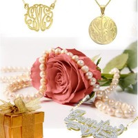 Designer Personalized Name Necklace 24K Yellow Gold w/ Rhodium Overlay