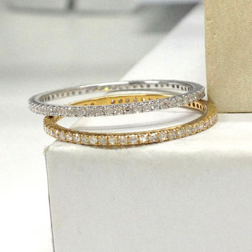 2pcs Full Eternity Diamond Wedding Ring Set!14K White Gold,Pave Set Diamond,Matching Band,Anniversary Fine Ring,Stacking Ring,Thin Design