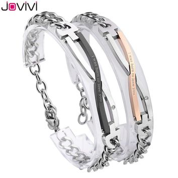 "JOVIVI Matching Set CZ Infinity ""I Was Born to Love You"" Stainless Steel Couple Bracelet Lover Mens Womens Bracelets Valentine's"