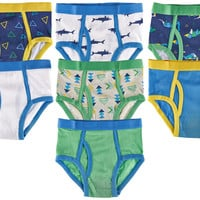 7-Pack Dinosaur Shark 100% Cotton Tagless Briefs