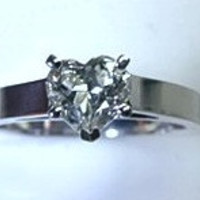 1.01ct E-VVS2 Heart Shape Diamond Engagement Ring GIA CERTIFIED JEWELFORME BLUE