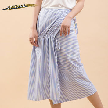 VITYAKE New Arrival Simple Style Female Casual Tie Bandage Vertical Stripes Skirt