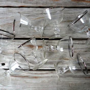 Set of 9 Silver Rimmed Cocktail Glasses by GallivantingGirls