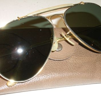 1970's BAUSCH & LOMB RAY BAN G15 GP G15 UV OUTDOORSMAN II AVIATOR SUNGLASSES