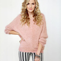 Cute Pink Sweater - Peach Sweater - Fuzzy Sweater - $43.00