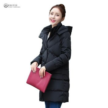 2017 New Long Winter Down Coat Women Big Size Pockets Hooded Thick Warm Long Down Jackets Female Outerwear Winter Coat OK949