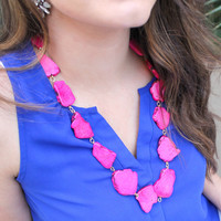 Pretty in Pink Long Stone Necklace