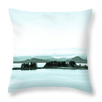 Alaska Seascape Pillow, Alaska Nature Throw Pillow, Alaska Seascape Seat Cushion, Light Blue Seat Cushion, Blue Throw Pillow Cover Photo Art