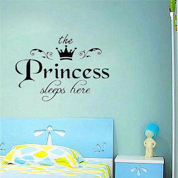 Brand New DIY Removable Princess Sleeps Wall Stickers Art Vinyl Decals Home Baby Girls Room Bedroom Dormitory Decor