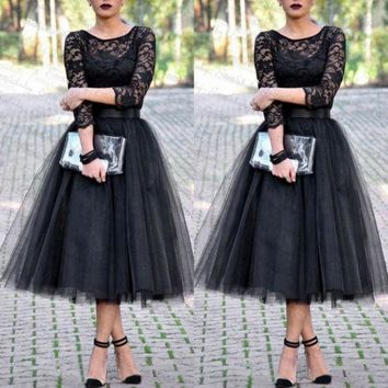 Trendy New Women Slim Formal Lace Midi Dress Ball Gown Black Elegant Long Sleeve Lace Party Ladies Gauzy Dresses