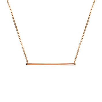 Sideways Horizontal Bar Pendant Necklace Rose Gold Plated Silver