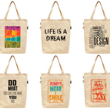 Women Funny Life Quote Printed Canvas Tote Shoulder Bag WAS_40