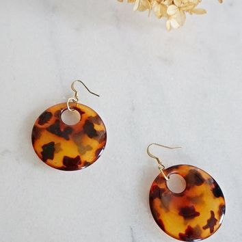 Vintage 1980s Tortoise + Lucite Disc Earrings