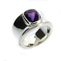 Molten Silver And Amethyst Ring