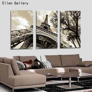 3Pcs/Set Modern Picture Canvas Painting Wall Pictures For Living Room  Decoration Paris City Eiffel Tower No Frame