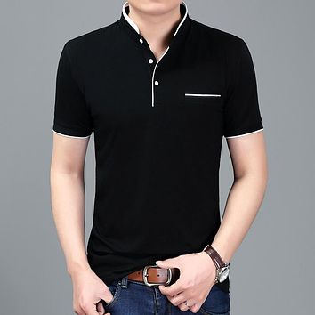 Summer Casual Stand Collar Polo Shirt Men Slim Fit Cotton