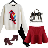 Long Sleeve Round Neck Print Parrot Knit Two-Piece Outfits