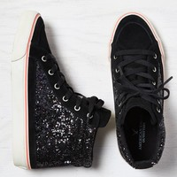 AEO Glittery Hi-Top Sneaker, Black | American Eagle Outfitters