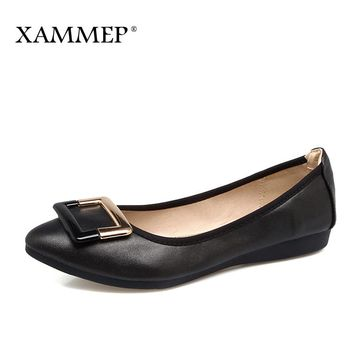 Xammep Women Flats Spring Autumn Brand Women Shoes Women Sneakers Pointed Toe Metal Decoration Female Casual Shoes Plus Big Size