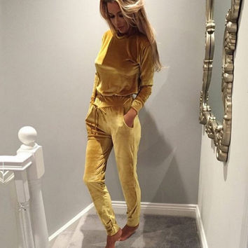 Slim Hooded Trousers pants two-piece suit Yellow