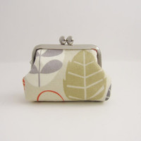 Frame Coin Purse gray leaves / Mini Jewelry Case with Ring Pillow