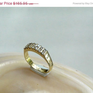 On SALE Anniversary Band Ring 14k Gold Channel Set CZ Size 6.25