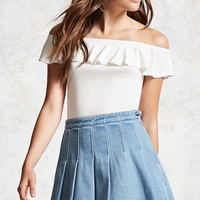Box Pleat Denim Skirt