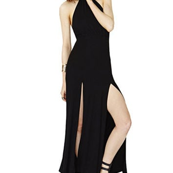 Black Haltered High Slit Maxi Dress